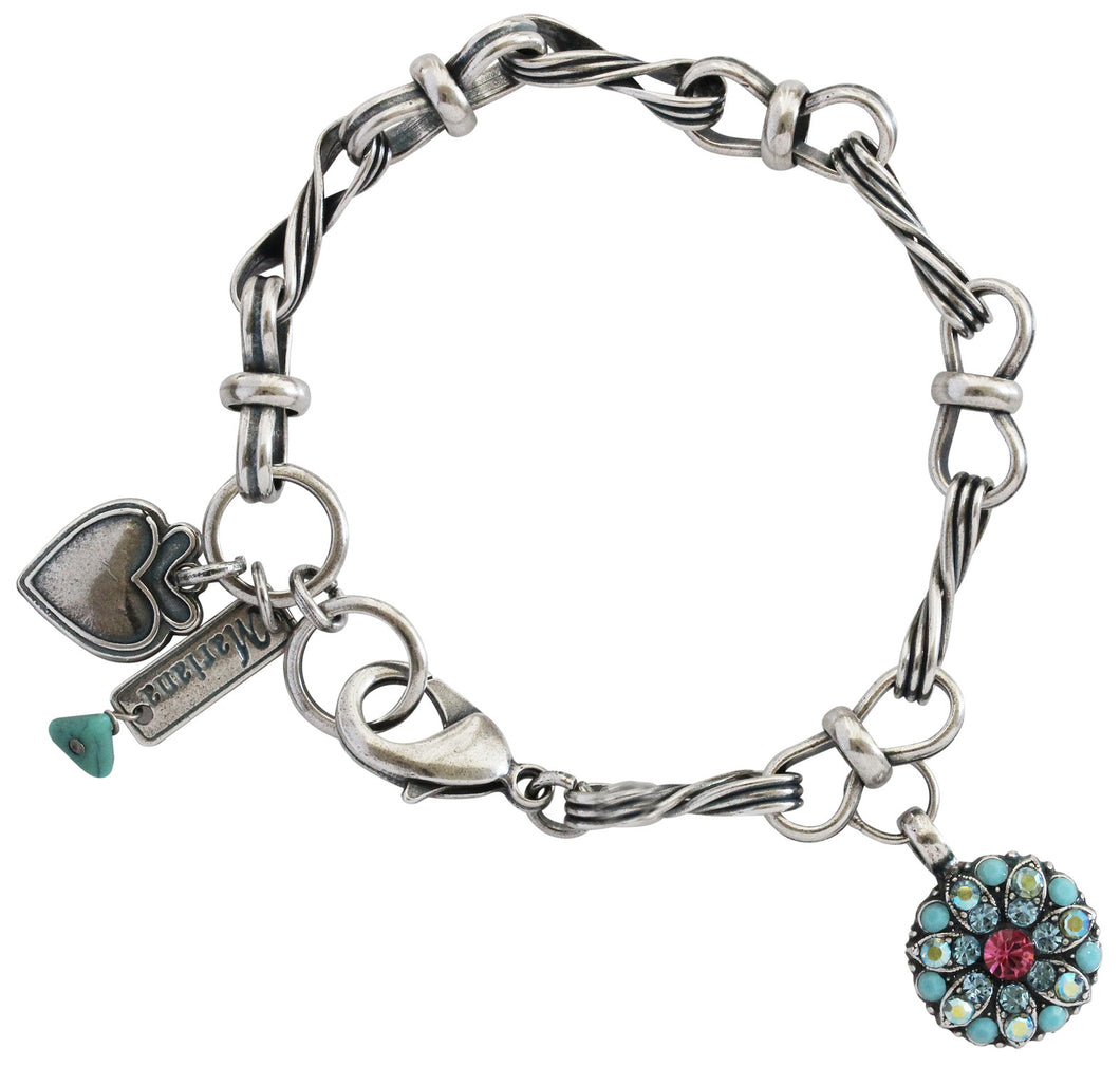 Mariana Silver Plated Guardian Angel Charm Crystal Bracelet, 7.25