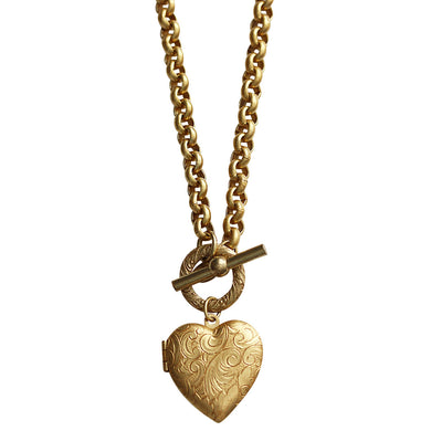 Catherine Popesco 14k Gold Plated Heart Locket Toggle Necklace, 16.5