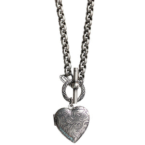 "Catherine Popesco Sterling Silver Plated Heart Locket Toggle Necklace, 16.5"" 1564"