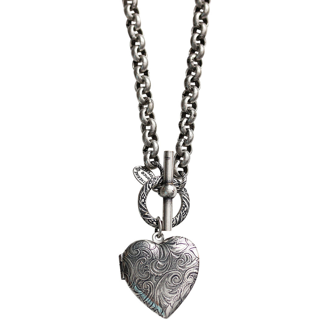 Catherine Popesco Sterling Silver Plated Heart Locket Toggle Necklace, 16.5