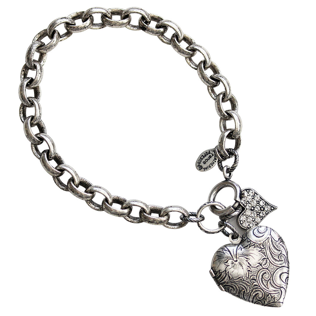 Catherine Popesco Sterling Silver Plated Crystal Heart Locket Bracelet, 7