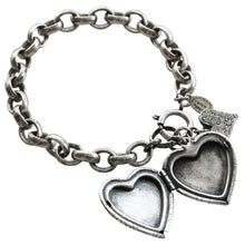 "Catherine Popesco Sterling Silver Plated Crystal Heart Locket Bracelet, 7"" 1681"