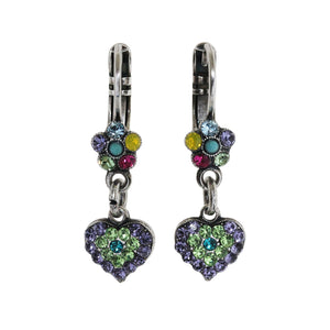 "Mariana ""Cuba"" Silver Plated Heart Floral Dangle Sweet Small Crystal Swarovski Earrings, 1322/4 333-1"