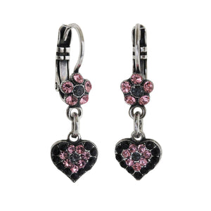 "Mariana ""Venus"" Silver Plated Heart Floral Dangle Sweet Small Crystal Swarovski Earrings, 1322/4 143"