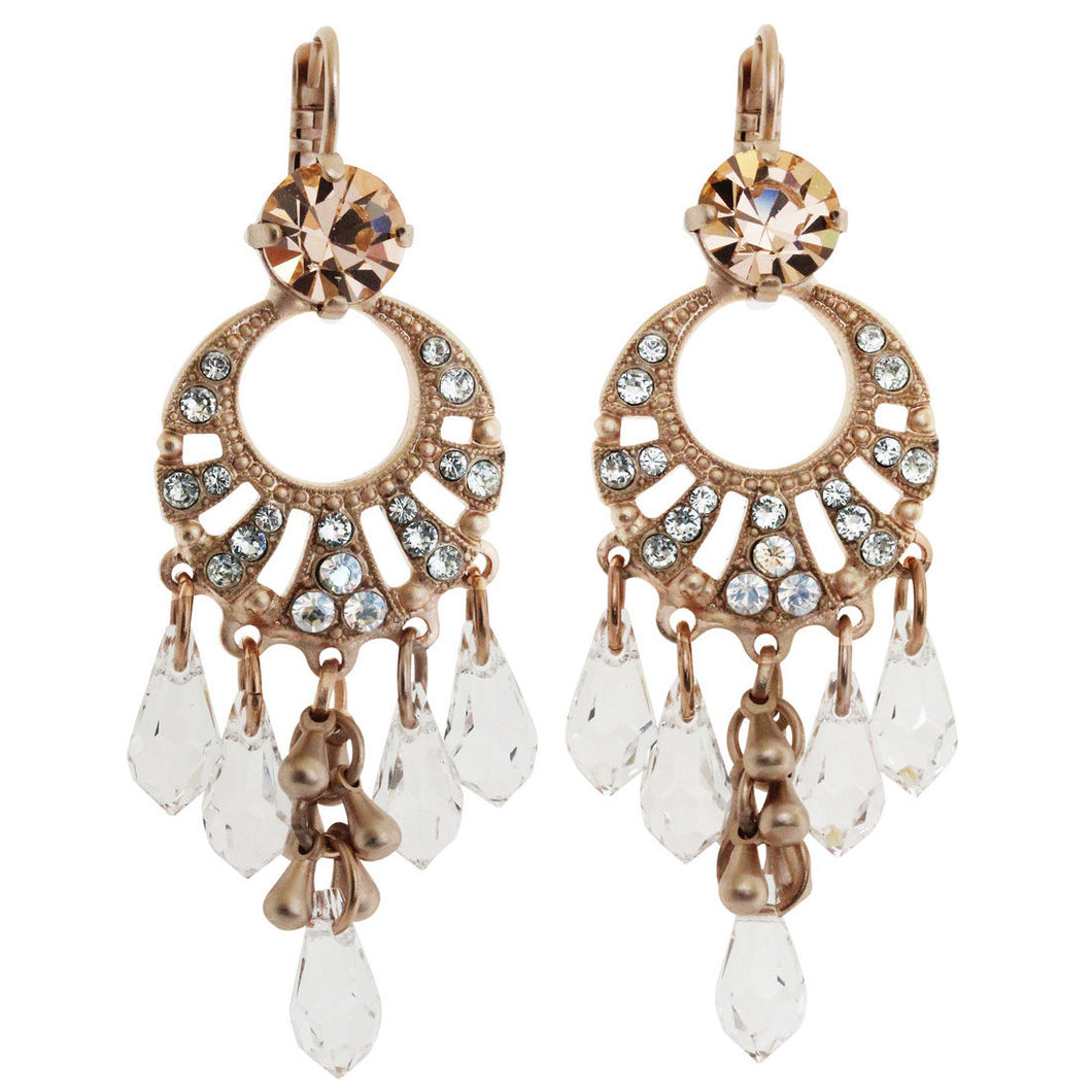 Mariana Rose Gold Plated Hoop Statement Chandelier Swarovski Earrings, Moon Dance 1036/2 MOL361mr