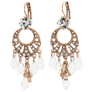 "Mariana ""On A Clear Day"" Rose Gold Plated Hoop Statement Chandelier Dangle Swarovski Earrings, Moon Dance 1036/2 0011ABmr"