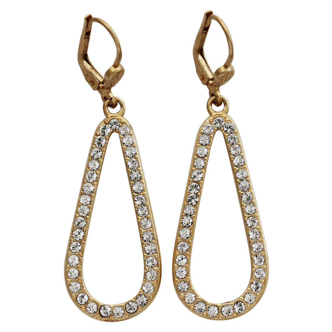 Catherine Popesco 14k Gold Plated Open Teardrop Swarovski Crystal Earrings, 4772G Clear