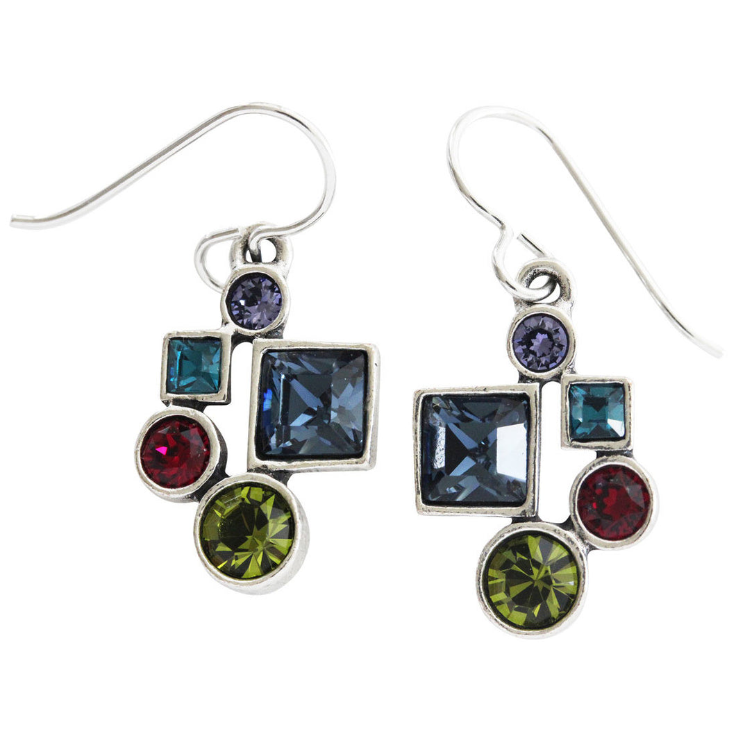 Patricia Locke Hotsy Totsy Sterling Silver Plated Swarovski Crystal Multi Color Earrings, Celebration EF0952S