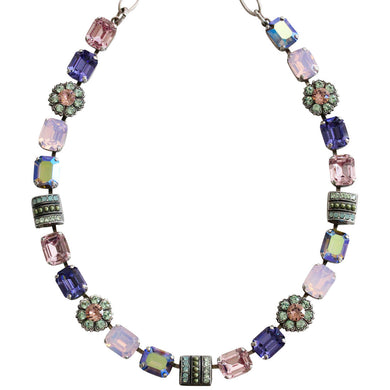 Mariana Silver Plated Rectangular Flower Swarovski Crystal Necklace, 16