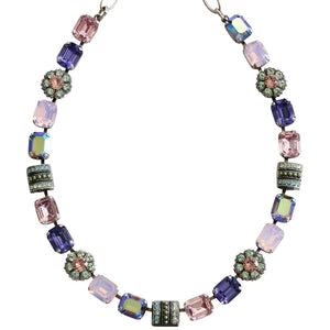 "Mariana Silver Plated Rectangular Flower Swarovski Crystal Necklace, 16"" Iris 3099 1327"