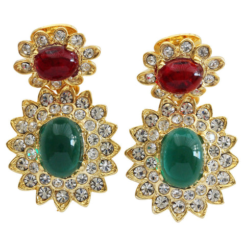 Kenneth Jay Lane Goldtone Jackie Kennedy Simulated Emerald Ruby Cabochon Crystal Rhinestone Drop Clip On Earrings 1137ERE
