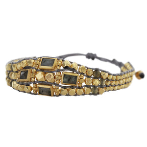 Chan Luu Labradorite Gold Plated Nuggets Pull-Tie Single Statement Leather Cuff Bracelet BG-5006
