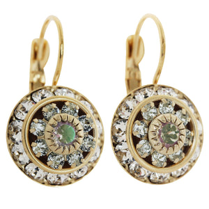 Liz Palacios 14k Gold Plated Large Rondelle Blossom Swarovski Crystal Earrings, JE-78 Clear Iridescent