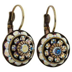 Liz Palacios Antiqued Brass Large Rondelle Blossom Swarovski Crystal Earrings, JE-78 AB