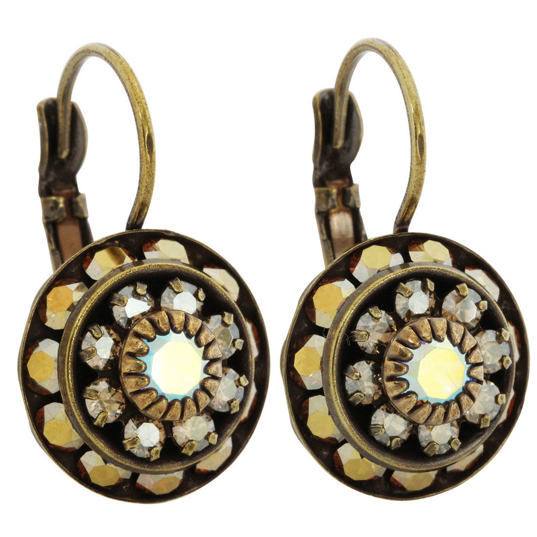 Liz Palacios Antiqued Brass Large Rondelle Blossom Swarovski Crystal Earrings, BDE-6 Antique Neutrals