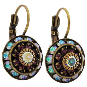 Liz Palacios Antiqued Brass Large Rondelle Blossom Swarovski Crystal Earrings, BDE-6 Antique Purple