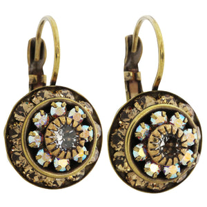 Liz Palacios Antiqued Brass Large Rondelle Blossom Swarovski Crystal Earrings, SE-93 Colorado AB