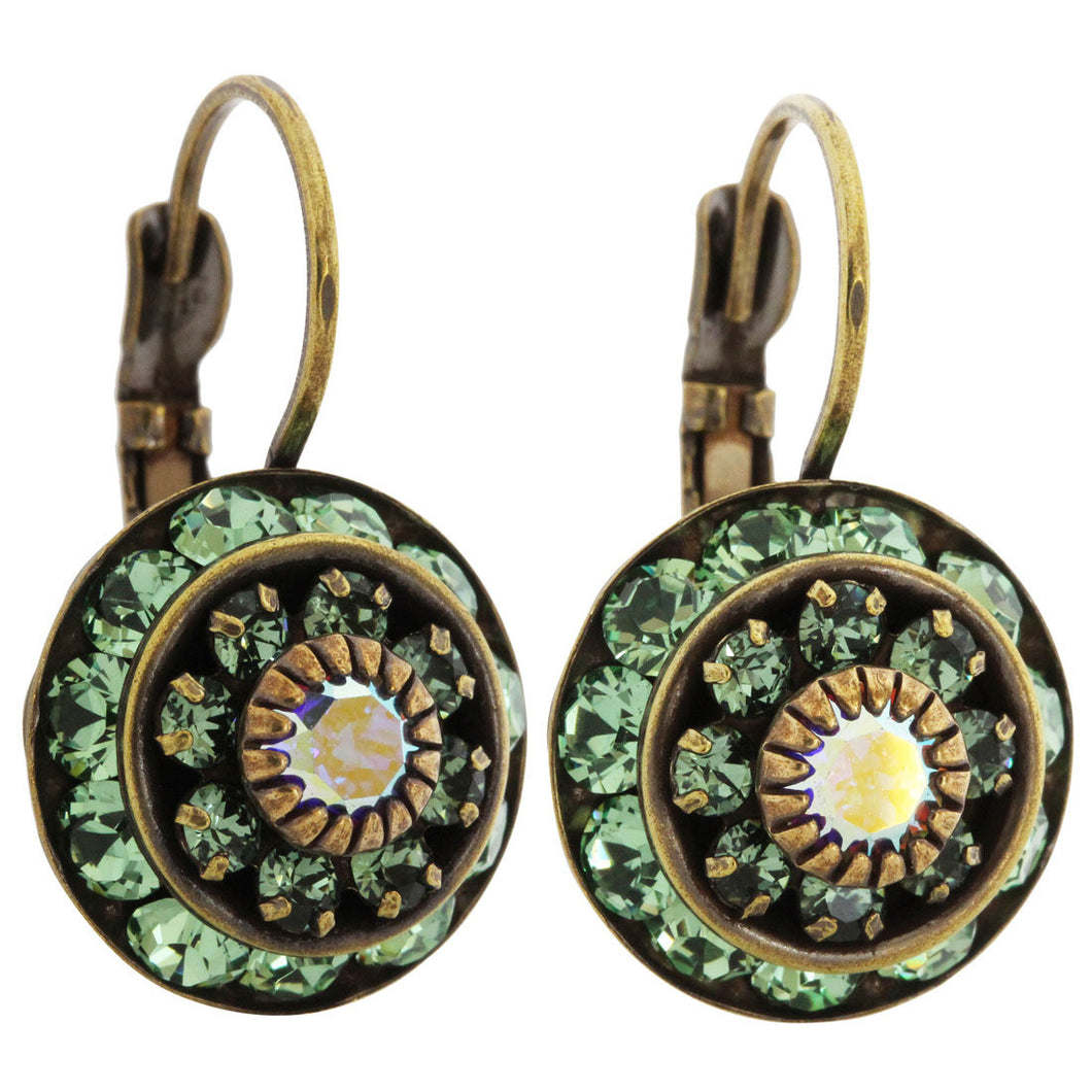 Liz Palacios Antiqued Brass Large Rondelle Blossom Swarovski Crystal Earrings, JE-78 Green AB