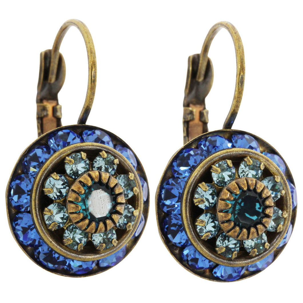 Liz Palacios Antiqued Brass Large Rondelle Blossom Swarovski Crystal Earrings, JE-78 Sapphire Blue Mix