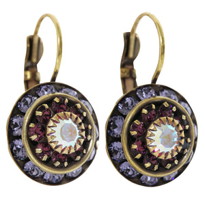 Liz Palacios Antiqued Brass Large Rondelle Blossom Swarovski Crystal Earrings, BDE-6 Purple AB Mix