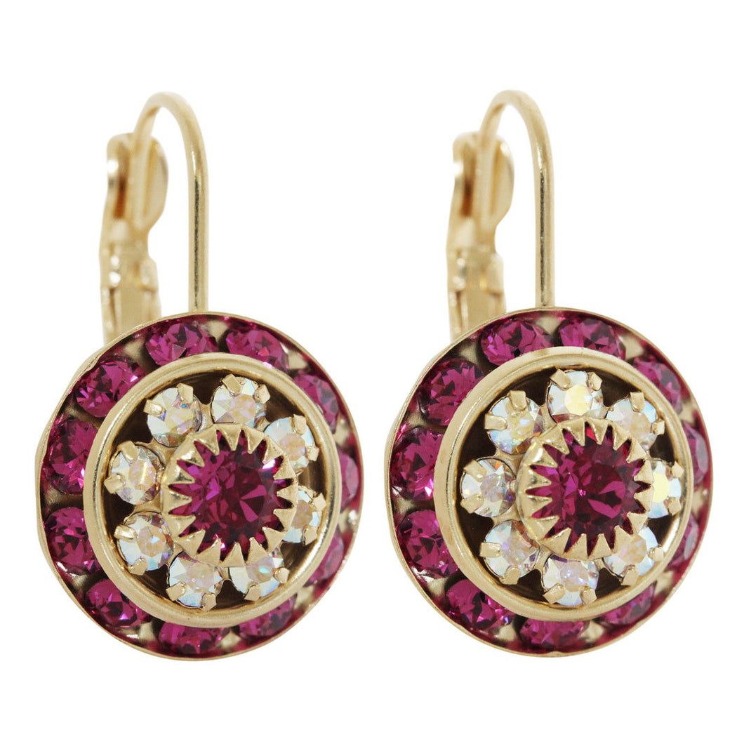 Liz Palacios 14k Gold Plated Large Rondelle Blossom Swarovski Crystal Earrings, JE-78 Fuchsia AB
