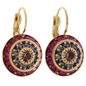 Liz Palacios 14k Gold Plated Large Rondelle Blossom Swarovski Crystal Earrings, JE-78 Fuchsia Purple