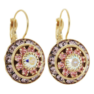 Liz Palacios 14k Gold Plated Large Rondelle Blossom Swarovski Crystal Earrings, JE-78 Violet Pink Rose AB