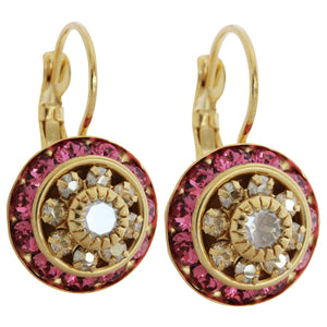 Liz Palacios 14k Gold Plated Large Rondelle Blossom Swarovski Crystal Earrings, JE-78 Rose Golden Shadow