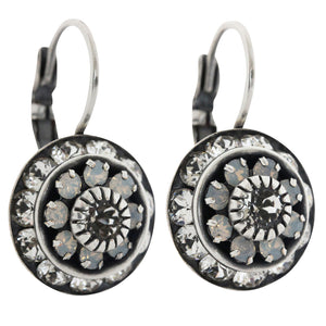 Liz Palacios Sterling Silver Plated Large Rondelle Blossom Swarovski Crystal Earrings, JE-78 Clear White Iridescent