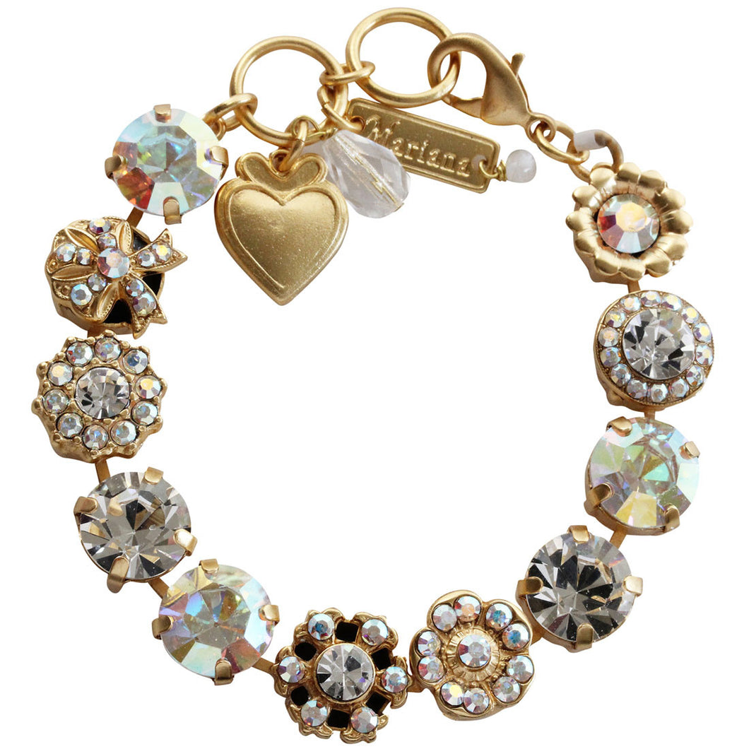 Mariana Large Ribbon Flower Shapes Swarovski Crystal Bracelet, 7