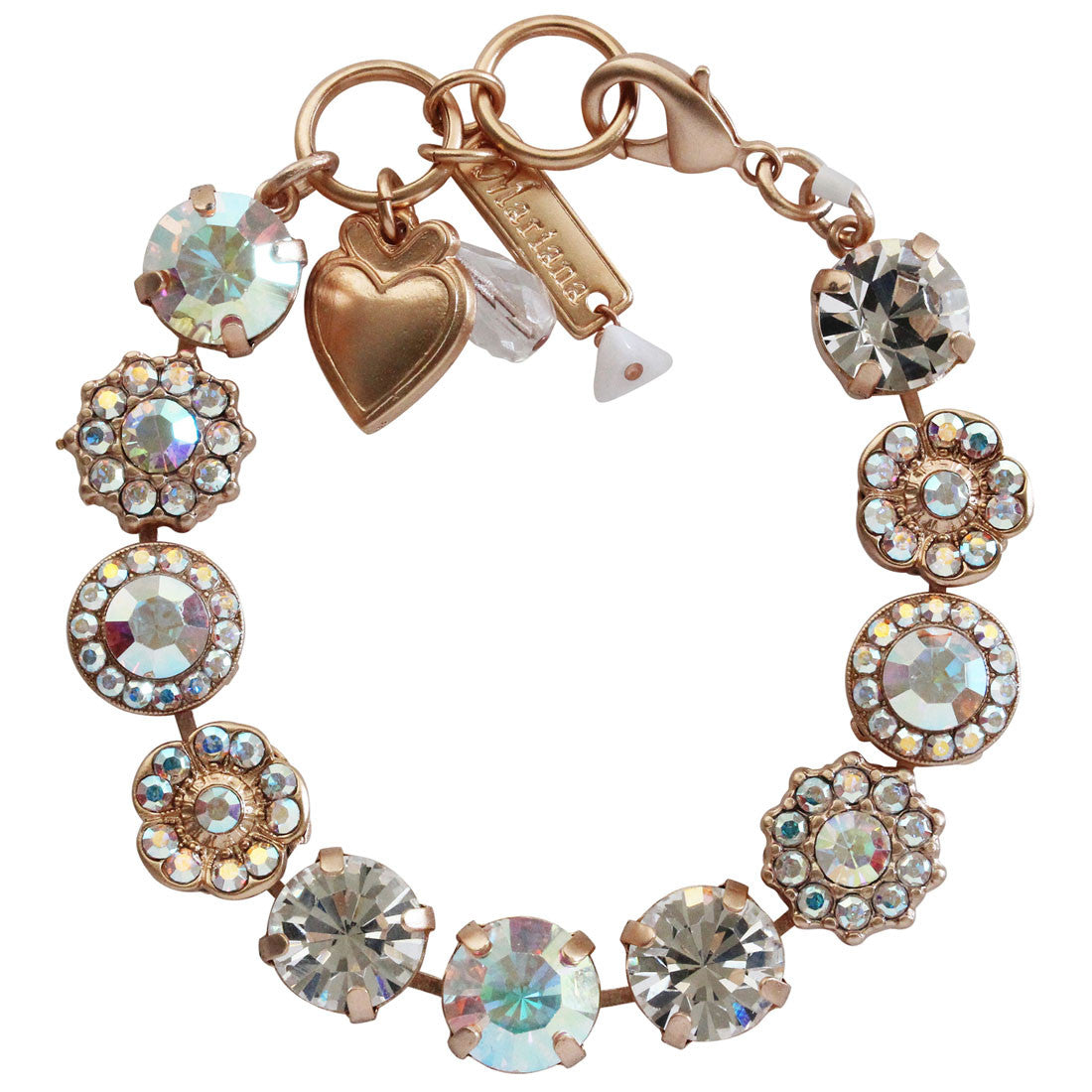 "Mariana Rose Gold Plated Large Flower Shapes Swarovski Crystal Bracelet, 7"" Crystal AB 4084 001ABrg"