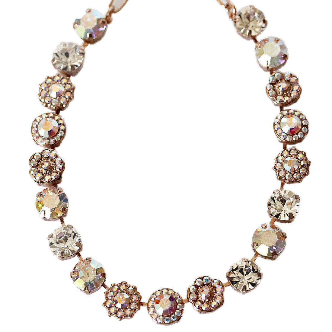 "Mariana Rose Gold Plated Large Flower Shapes Swarovski Crystal Necklace, 18"" Crystal AB 3084 001ABrg"
