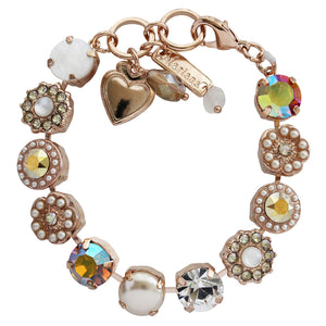 "Mariana ""Aurora"" Rose Gold Plated Large Flower Shapes Swarovski Crystal Bracelet, 7"" 4084 M1093rg"