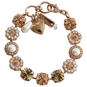 "Mariana Rose Gold Plated Large Flower Shapes Swarovski Crystal Bracelet, 7"" Beauty 4084 139362rg"