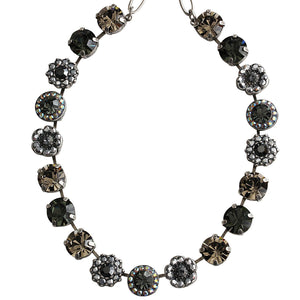 "Mariana Silver Plated Large Flower Shapes Swarovski Crystal Necklace, 18"" Grey 3084 747"