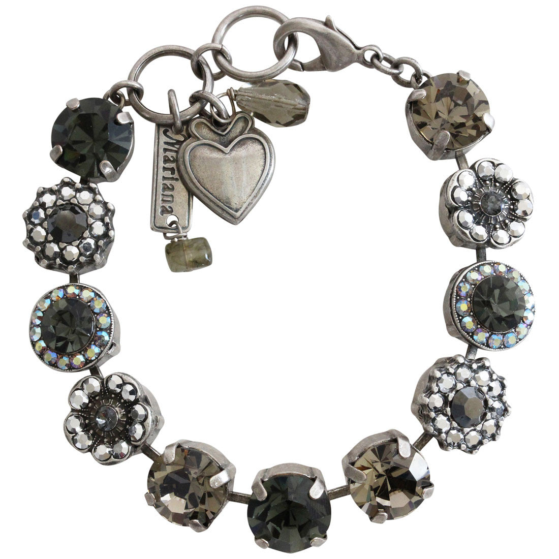 "Mariana Silver Plated Large Flower Shapes Swarovski Crystal Bracelet, 7.5"" Gray 4084 747"