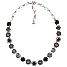"Mariana Silver Plated Large Flower Shapes Swarovski Crystal 18"" Necklace, Black Velvet 3084 1073"
