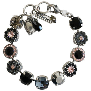 "Mariana Silver Plated Large Flower Shapes Swarovski Crystal Bracelet, 7"" Black Velvet 4084 1073"