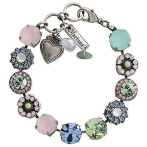 "Mariana Silver Plated Large Flower Shapes Swarovski Crystal Bracelet, 7"" California Dreaming 4084 1067"