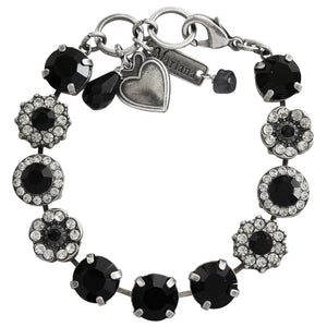 "Mariana Silver Plated Large Flower Shapes Swarovski Crystal Bracelet, 7"" Checkmate 4084 280-1"