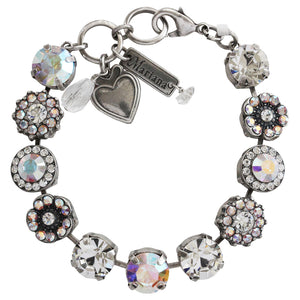 "Mariana Silver Plated Large Flower Shapes Swarovski Crystal Bracelet, 7"" Clear Crystal AB 4084 0011AB"