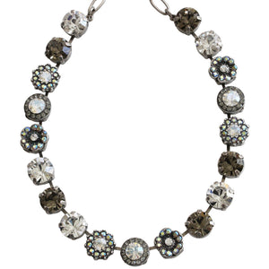 "Mariana Silver Plated Large Flower Shapes Swarovski Crystal 18"" Necklace, Moonlight 3084 512"