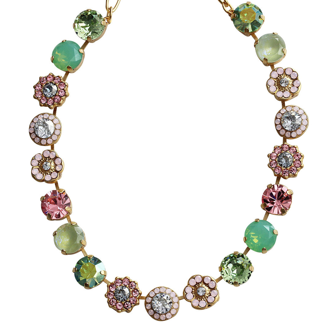 Mariana Gold Plated Large Flower Shapes Swarovski Crystal Necklace, 18