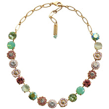"Mariana Gold Plated Large Flower Shapes Swarovski Crystal Necklace, 18"" Eternity 3084 1028yg"