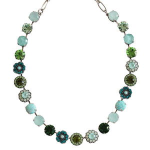 "Mariana ""Fern"" Silver Plated Large Floral Mosaic Swarovski Crystal Necklace, Green Sea Teal 3045/1SO2 M2143"