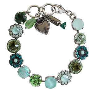 Mariana Silver Plated Large Flower Shapes Swarovski Crystal Bracelet, Fern Green Mix 4045/1SO1 M2143