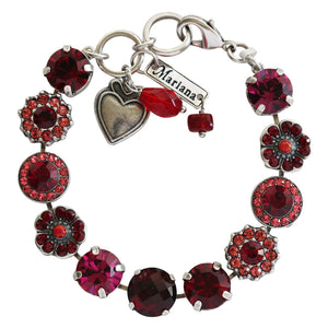 "Mariana ""Firefly"" Silver Plated Large Floral Mosaic Swarovski Crystal Bracelet, Red 4084 2140"
