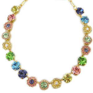 "Mariana Gold Plated Large Flower Shapes Swarovski Crystal Necklace, 18"" Flower Power 3084 803yg"