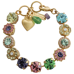 "Mariana Gold Plated Large Flower Shapes Swarovski Crystal Bracelet, 7.5"" Flower Power 4084 803yg"