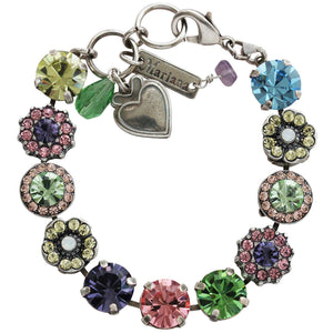 "Mariana Silver Plated Large Flower Shapes Swarovski Crystal Bracelet, 7.5"" Flower Power 4084 803"
